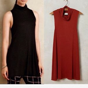 Anthropologie Rust Sleeveless Turtleneck Tunic EUC